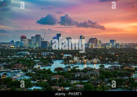 Fort Lauderdale, Florida, USA Intracoastal Skyline at Sunrise. - Stock Photo