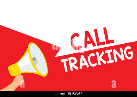 Word writing text Call Tracking. Business concept for Organic search engine Digital advertising Conversion indicator Megaphone loudspeaker speech bubb - Stock Photo