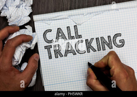 Word writing text Call Tracking. Business concept for Organic search engine Digital advertising Conversion indicator Man holding marker notebook crump - Stock Photo
