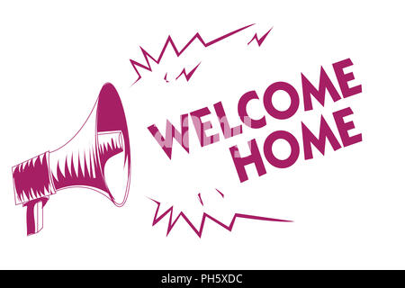 Conceptual hand writing showing Welcome Home. Business photo showcasing Expression Greetings New Owners Domicile Doormat Entry Purple megaphone import - Stock Photo