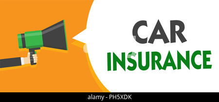 Handwriting text Car Insurance. Concept meaning Accidents coverage Comprehensive Policy Motor Vehicle Guaranty Man holding megaphone loudspeaker speec - Stock Photo