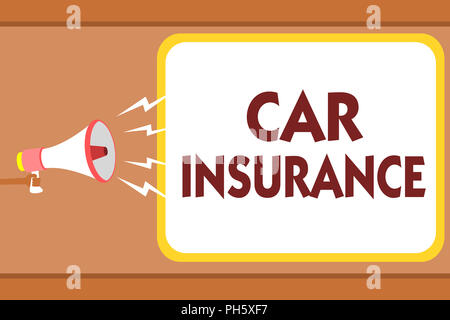 Writing note showing Car Insurance. Business photo showcasing Accidents coverage Comprehensive Policy Motor Vehicle Guaranty Man holding megaphone lou - Stock Photo