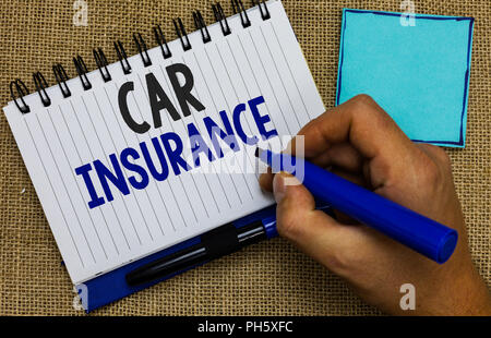 Word writing text Car Insurance. Business concept for Accidents coverage Comprehensive Policy Motor Vehicle Guaranty Man holding marker notebook page  - Stock Photo