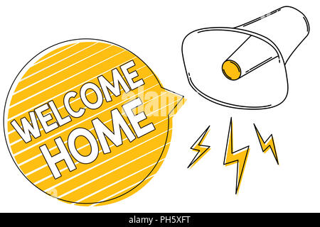 Handwriting text writing Welcome Home. Concept meaning Expression Greetings New Owners Domicile Doormat Entry Megaphone loudspeaker yellow speech bubb - Stock Photo