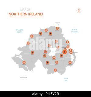 Map Of Northern Ireland Cities.Stylized Vector Northern Ireland Map Infographic 3d Gold Map