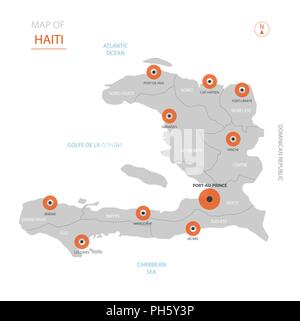 Stylized vector Haiti map. Infographic 3d gold map illustration with ...