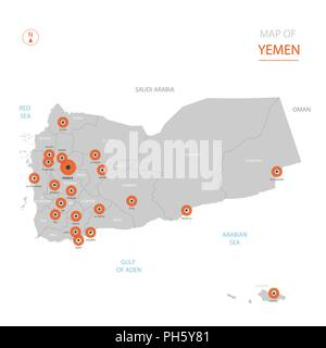 Stylized vector Yemen map showing big cities, capital Sanaa, administrative divisions. - Stock Photo
