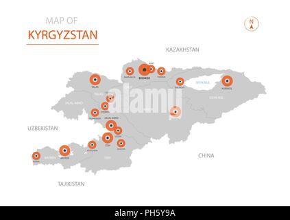 Kyrgyzstan political map with capital Bishkek and borders. Kyrgyz ...