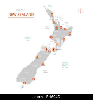 Stylized vector New Zealand map showing big cities, capital Wellington, administrative divisions. - Stock Photo