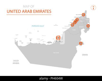Stylized vector United Arab Emirates map showing big cities, capital Abu Dhabi, administrative divisions. - Stock Photo