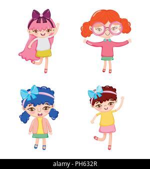 Set of cute girl cartoons - Stock Photo