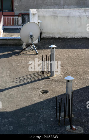 Rooftop view in a city. Small town roof top. Old house rooftops. - Stock Photo