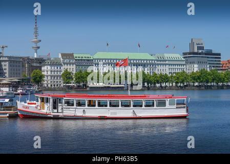 Ausflugsdampfer, Jungfernstieg, Hotel Vier Jahreszeiten, Binnenalster, Hamburg, Deutschland - Stock Photo