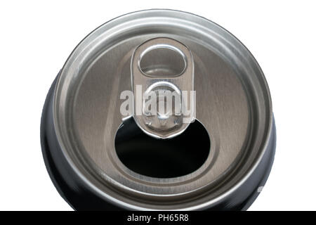 Top view of an open can of soda isolated on white - Stock Photo