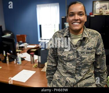 Aviation Resource Management Apprentice Airman 1st Class Carlisa Dixon is a drill status Guardsman celebrating her one year anniversary in the Air National Guard today, June 27, 2018. When Dixon is not assigned to the 171st Air Refueling Wing Operations Support Squadron, she works as a substitute teacher with Steel Valley High School. She attended college on multiple full scholarships for basketball at California University of Pennsylvania and Slippery Rock University where she graduated with an associates degree in Liberal Arts and a Bachelors in Science. - Stock Photo