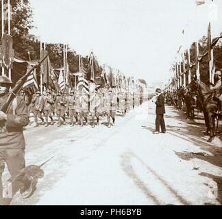 American troops marching in victory parade, Paris, France, c1918-c1919. Artist: Unknown. - Stock Photo