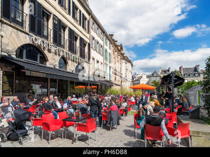 Cafe on Place Saint-Corentin, Quimper, Finistere, Brittany, France - Stock Photo