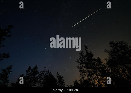 Night scene with starry sky and meteorite trail over forest. Long exposure shoot - Stock Photo