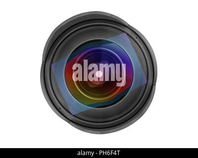 Large wide angle photo lens front view. Close up isolated on white, clipping path included - Stock Photo