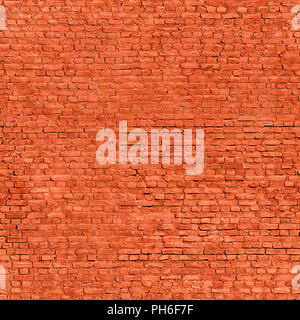 Large red brick wall. Grunge seamless texture and background - Stock Photo
