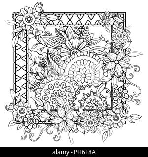 Adult Coloring Page With Flowers Pattern Black And White Doodle Wreath Floral Mandala