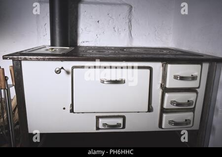 Vintage wood fire stove - Stock Photo