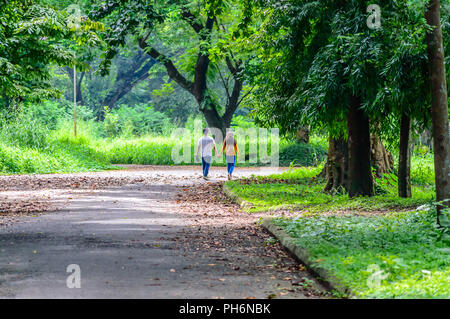 Happy married Cute couple walking in the park. Love relationship and dating concept. - Stock Photo