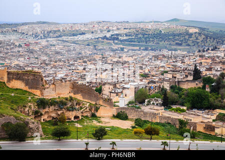 Aerial view of fez in morocco - Stock Photo