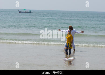 Goa, India - July 8, 2018 - Bollywood actors on the beach of