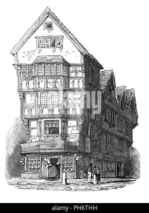 Half timbered Tudor house that formerly stood on the corner of Fleet Street and Chancery Lane takes its name from the historic High Court of Chancery.  In 14th century London it became the official residence and storage for court records for the Master of the Rolls.   In a typical Tudor house the weight of the house was carried on a wooden frame. The space between the wooden beams was filled in with either brick or plaster. Brick was costly so plaster was used as the infill between the beams in smaller houses and whitewashed, giving houses their distinctive black-and-white appearance. - Stock Photo