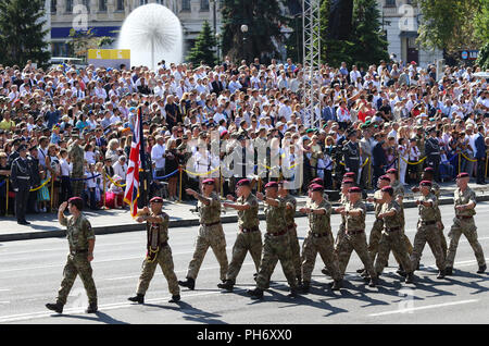 KYIV, UKRAINE - AUGUST 24, 2018: British Airborne Reservists march through Independence Square in Kyiv during the military parade. Ukraine celebrates  - Stock Photo