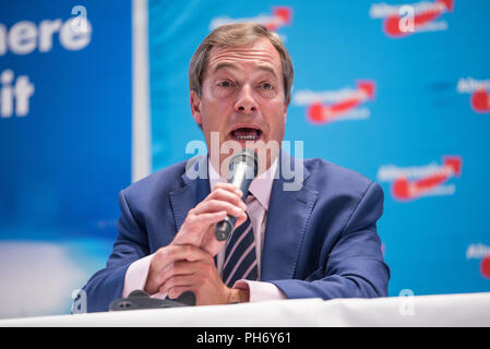 Nigel Farage speaking at an AfD Event in Berlin Spandau in September 2017 - Stock Photo