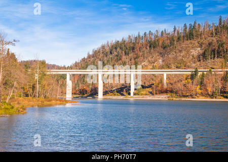 Bridge over the Bajer Lake in Fuzine, Gorski kotar, Croatia - Stock Photo