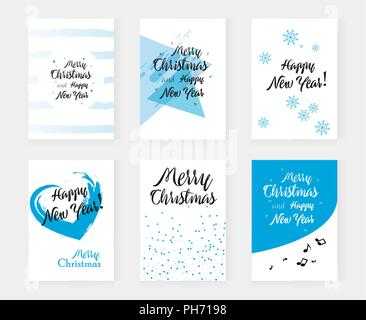Set of hand drawn Merry christmas and Winter decoration elements for design greeting cards, photo overlays, invitations and more - Stock Photo