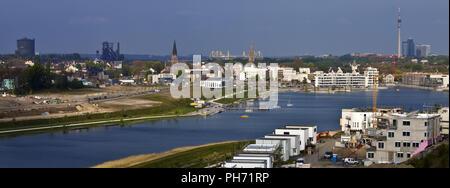 City Panorama Phoenix Lake, Dortmund, Germany. - Stock Photo