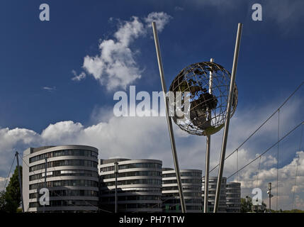 Mercator globe, Duisburg inner Habour, Germany. - Stock Photo