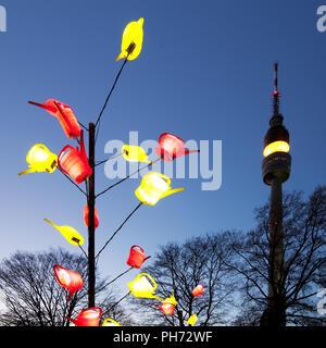 Winter lights, park Westphalia, Dortmund, Germany. - Stock Photo