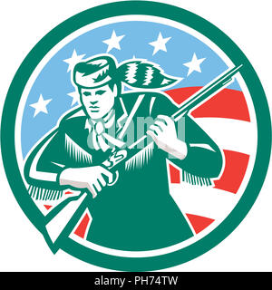 American Frontiersman Daniel Boone Circle Retro - Stock Photo