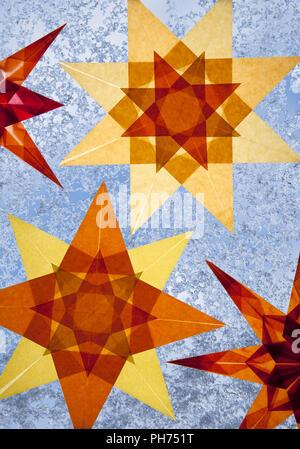 Transparent stars, window decoration, wintertime - Stock Photo