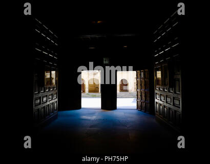 An image captured from inside the doors of the magnificent Santo Tomas church in Haro, Spain. This main entrance to the church is the work of Felipe V - Stock Photo