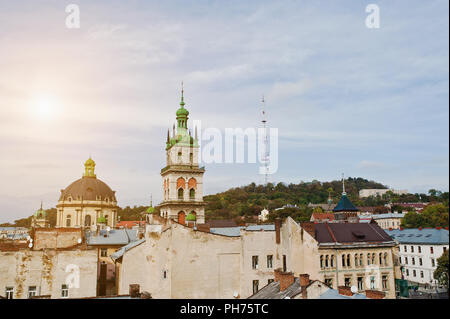 Panorama of old city Lviv, high castle. Ukraine. - Stock Photo