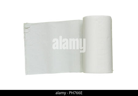 toilet paper roll on white isolate with clipping path. - Stock Photo