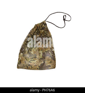 Drawstring pack template jute on white isolate with clipping path. - Stock Photo