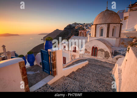 Thira, Santorini. Image of famous village Thira located at one of Cyclades island of Santorini, South Aegean, Greece. - Stock Photo
