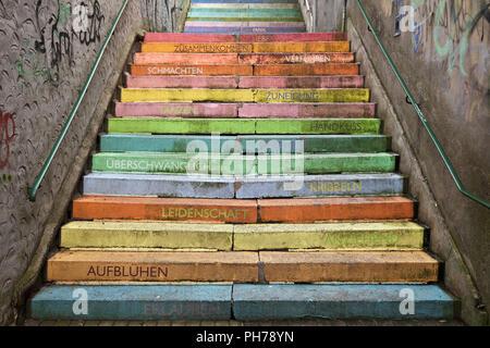 colourful perron, Scala, Holsteiner Treppe, Wuppertal, North Rhine-Westphalia, Germany - Stock Photo