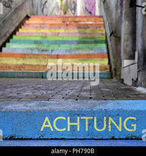 the word respect on colourful perron, Scala, Holsteiner Treppe, Wuppertal, Germany - Stock Photo