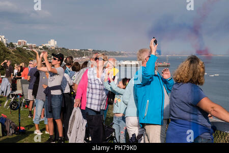Bournemouth, UK 30th August 2018, Spectators watch the Air Festival from West Cliff. ©dbphots/Alamy Live News - Stock Photo