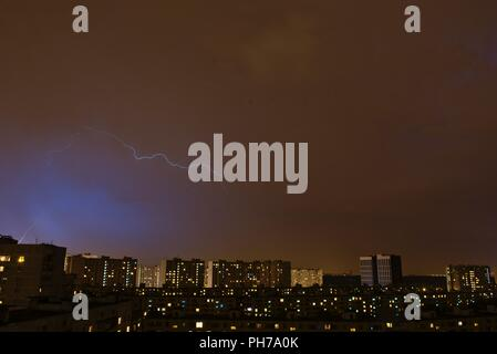 Moscow, Russia. 31 August 2018. Thunder and lightning hits Moscow. © Igor Ippolitov/ Alamy Live News - Stock Photo