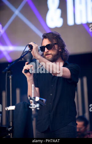 Treviso, Italy. 30th Aug 2018. Nic Cester (ex singer of JET) & the Milano elettrica live at Home festival in Treviso this night for the first day of Festival Credit: Denis Ulliana/Alamy Live News - Stock Photo