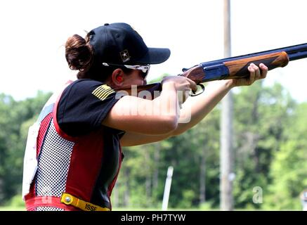 2nd Lt. Amber English, an Army Reserve Soldier who received orders to the World Class Athlete Program, was recently assigned to the U.S. Army Marksmanship Unit at Fort Benning, Georgia to continue her training in skeet shooting, and possible journey to the 2020 Olympics. Shortly after Army Basic Training, English claimed a Bronze Medal in the April World Cup in Changwon, South Korea and then in June, she seized a Silver Medal at the Siggiewi, Malta World Cup. - Stock Photo